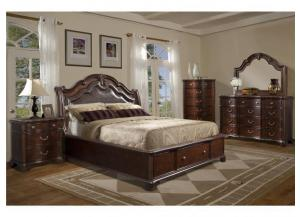 KING TABASCO STORAGE BED, DRESSER, MIRROR AND NIGHTSTAND